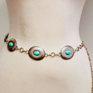 Silver Disk Western Turquoise Stone Chain Belt
